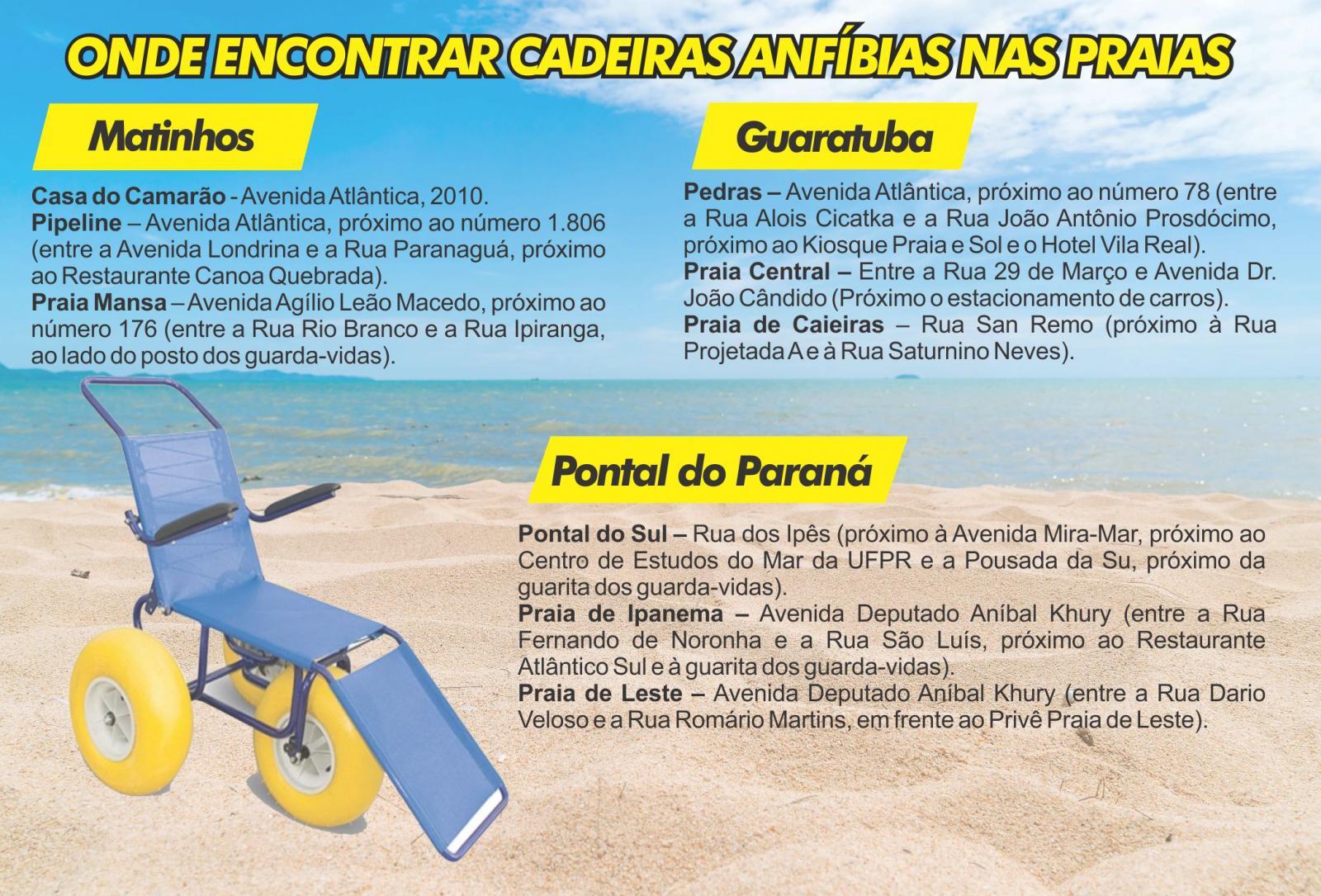 cadeiras anfíbias, acessibilidade, mobilidade reduzida, praias, litoral do paraná, matinhos, guaratuba, pontal do paraná
