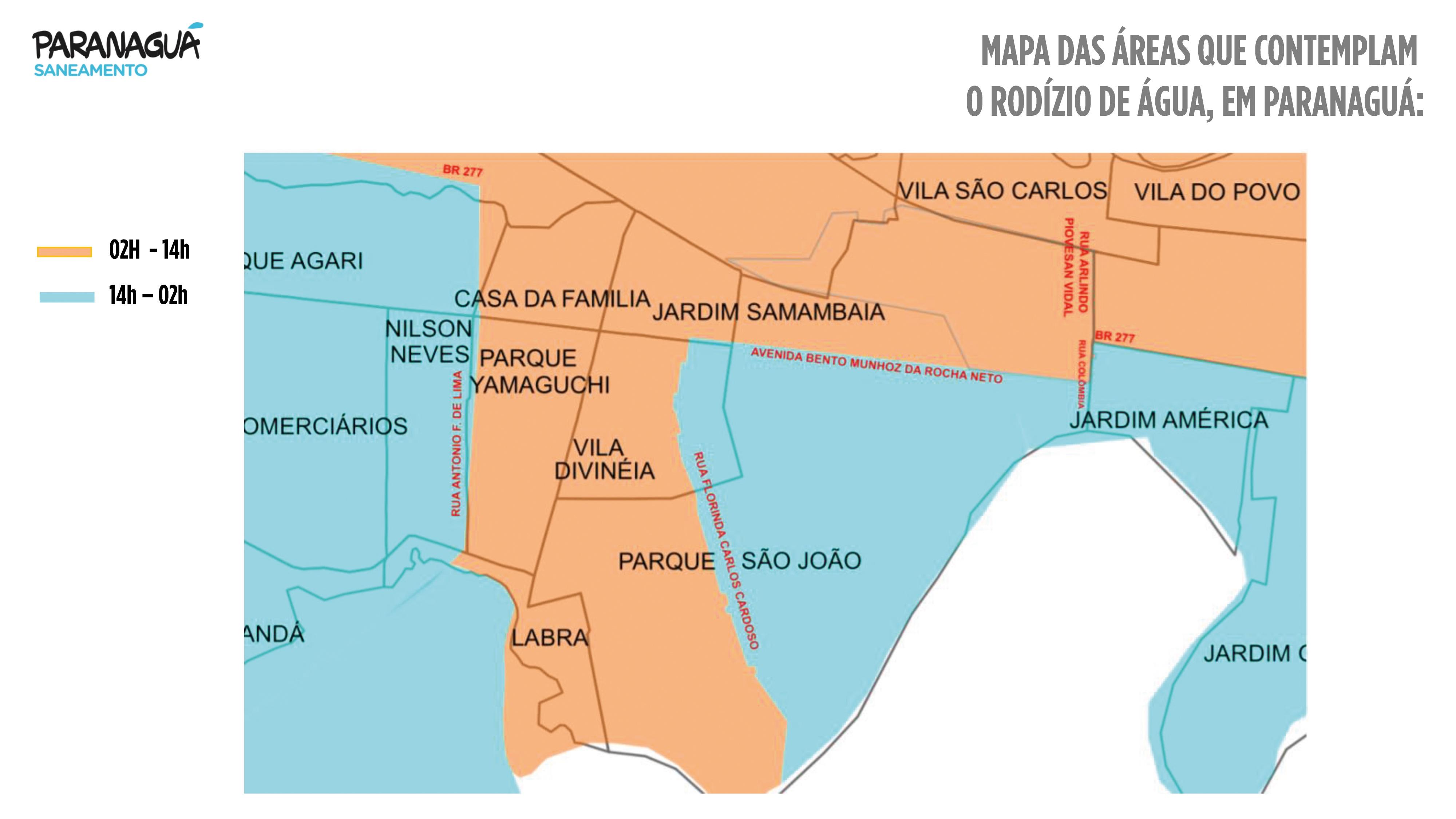 Mapa das áreas do rodízio de água em Paranaguá