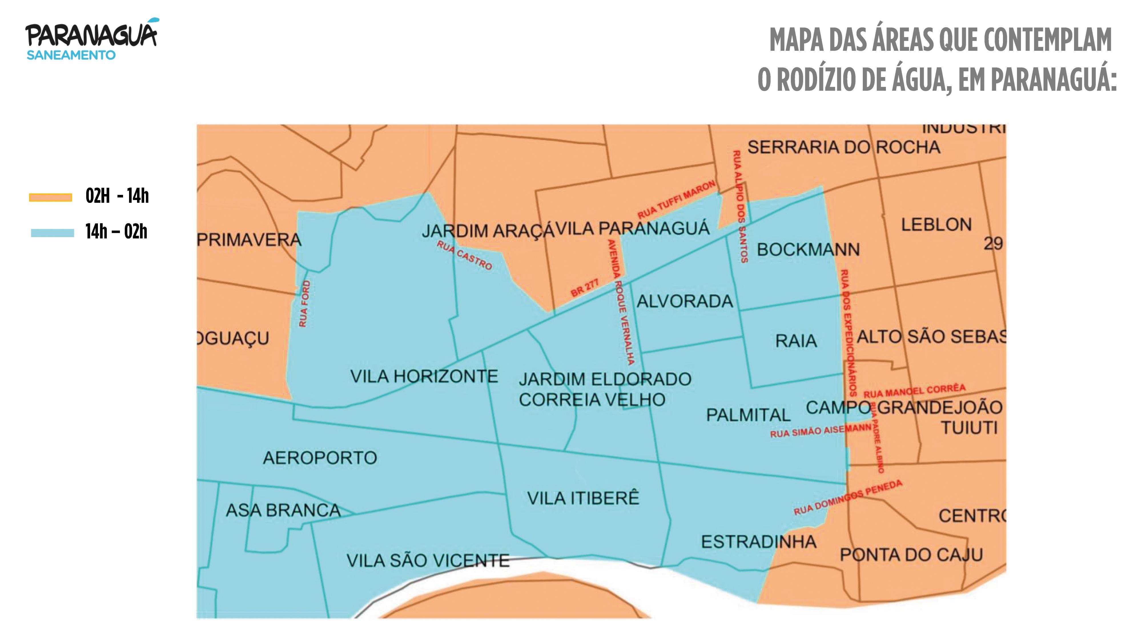 Mapa das áreas do rodízio de água