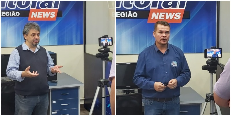 gravações das entrevistas com os candidatos a prefeito e a vice