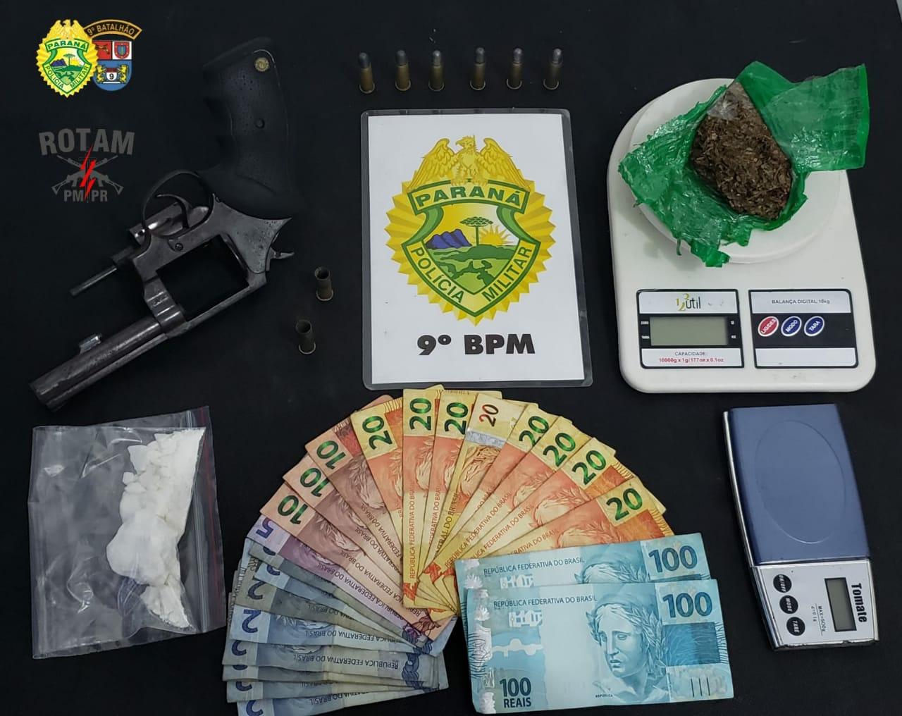 Rapaz é flagrado com revólver e drogas em Guaratuba