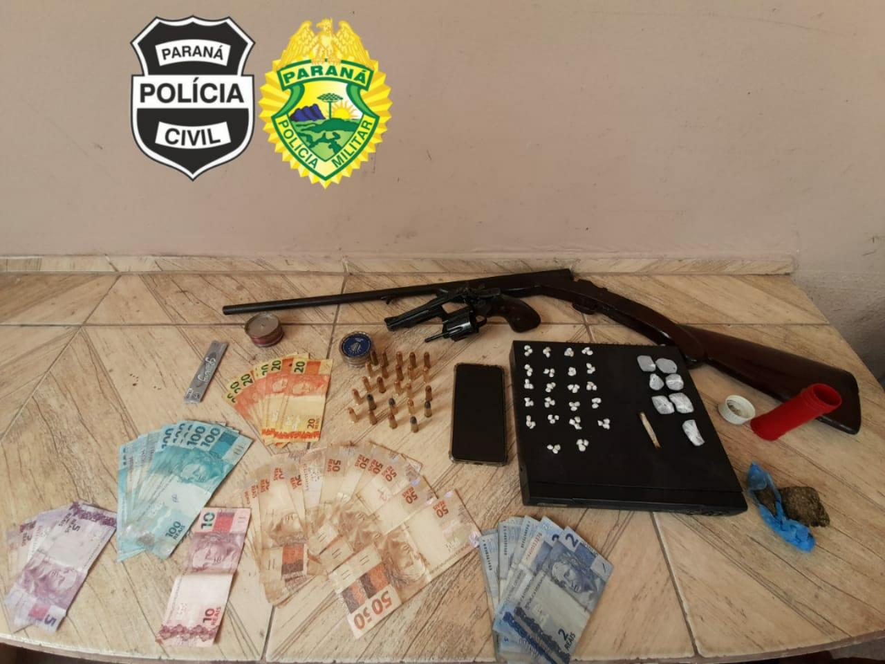 Ação conjunta apreende duas armas de fogo e drogas em Morretes