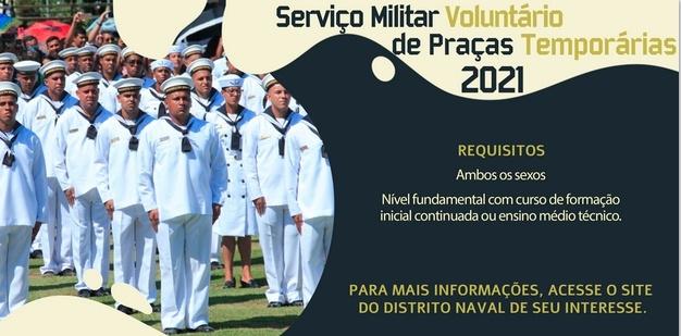 Comando do 8.º Distrito Naval abre inscrições para vagas de Praças Temporários