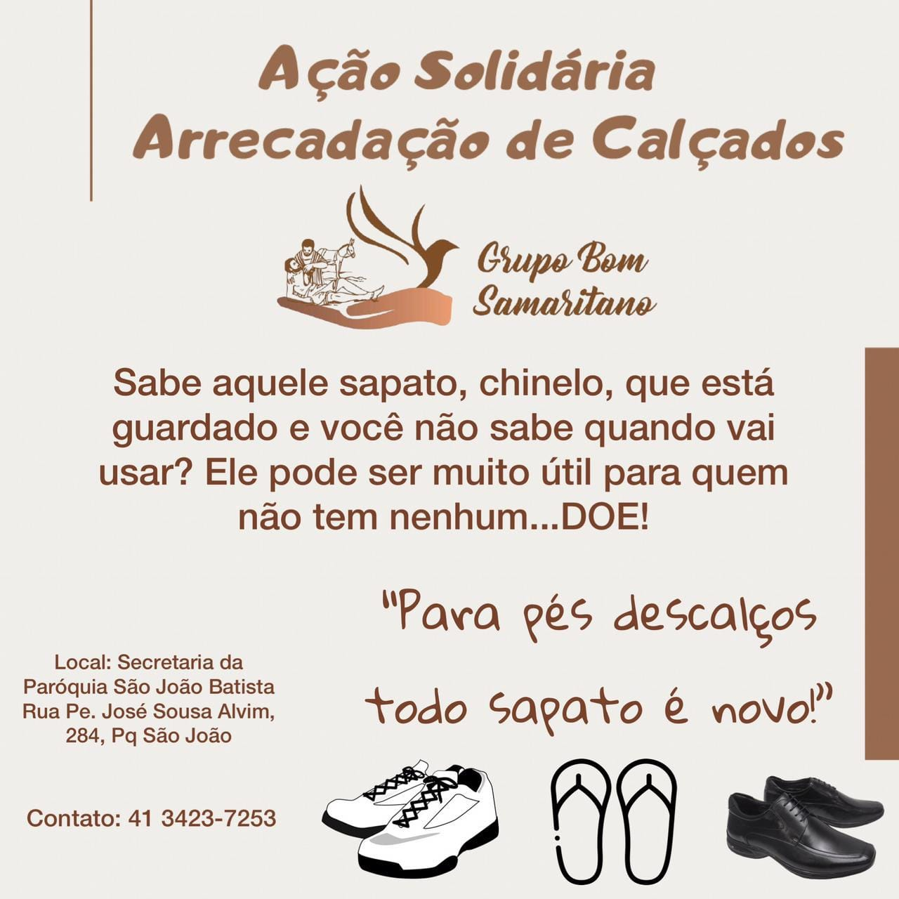 Grupo Bom Samaritano realiza ação solidária de arrecadação de sapatos