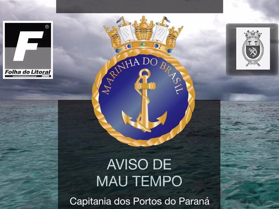 Marinha do Brasil emite novo alerta para mau tempo para o Litoral do Paraná