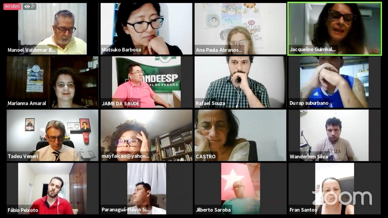 Pessoas que participaram do fórum