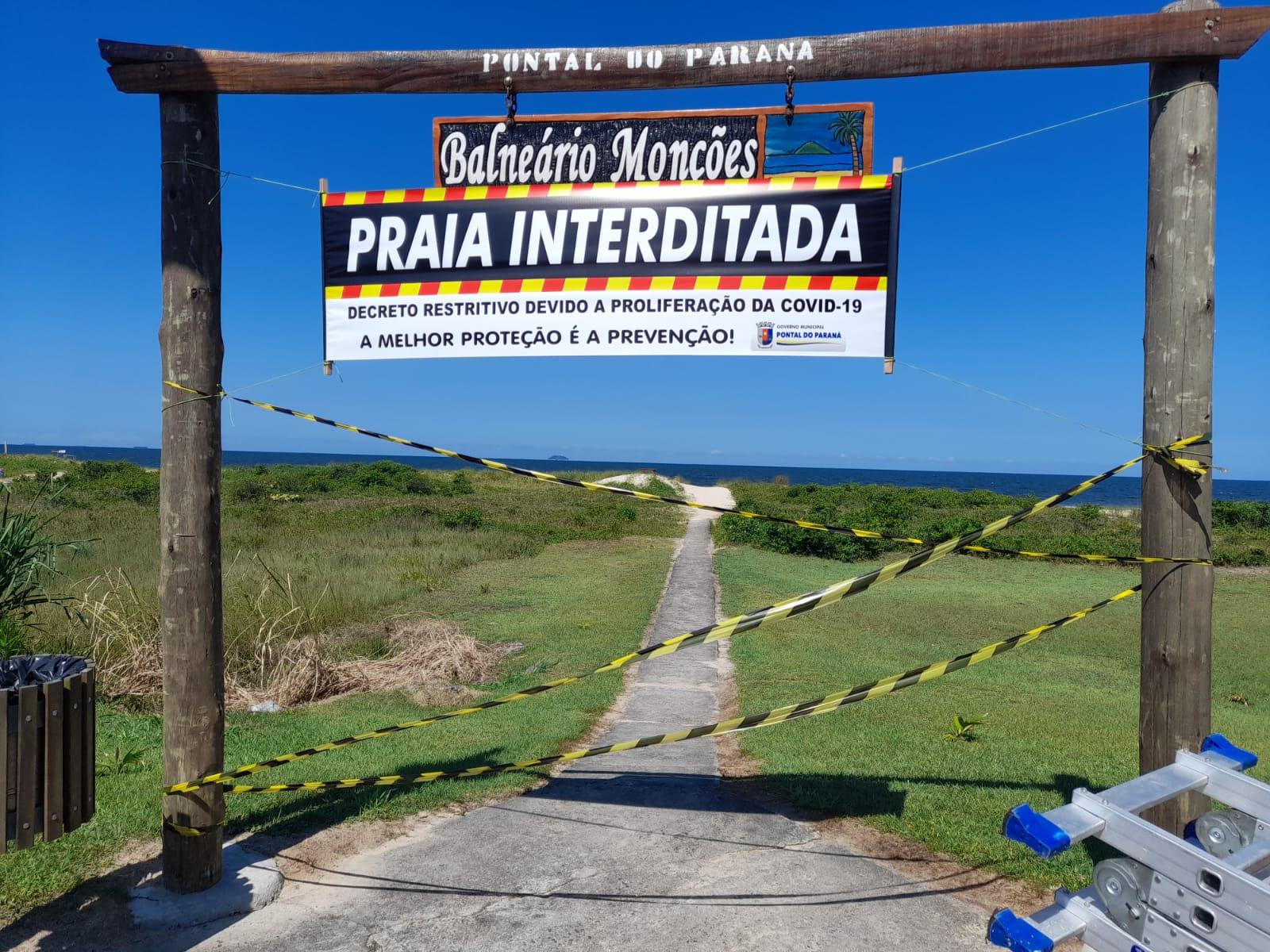 Praias dos balneários de Pontal do Paraná estarão fechadas (Foto: Prefeitura de Pontal do Paraná)