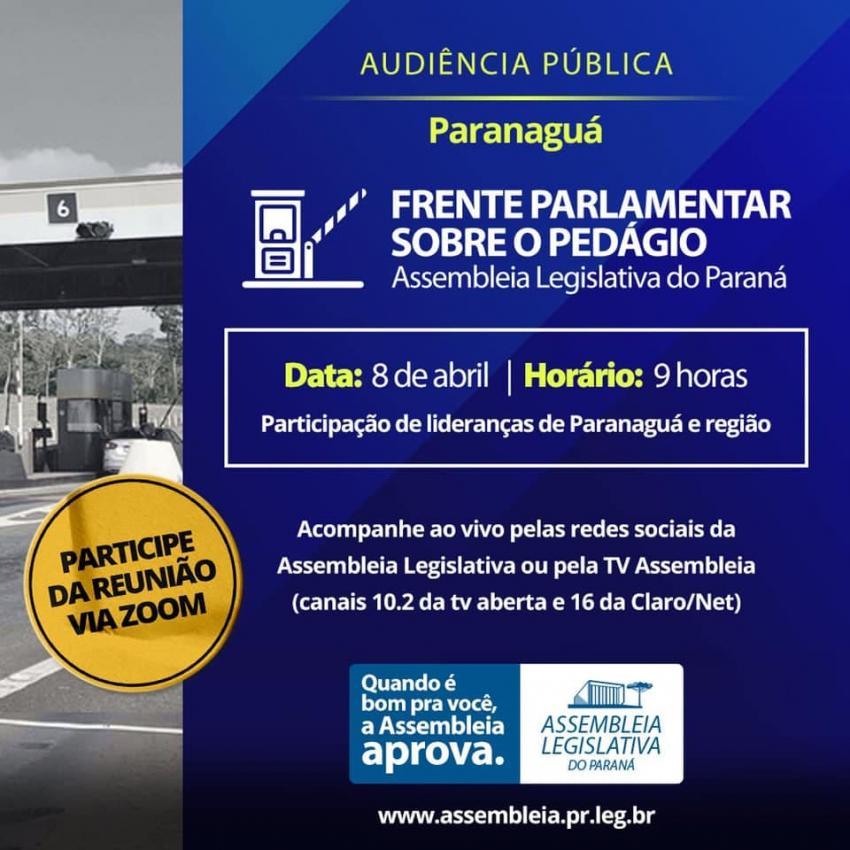 A organização da Audiência Pública virtual é da Assembleia Legislativa do Estado do Paraná, por meio da Frente Parlamentar do Pedágio.